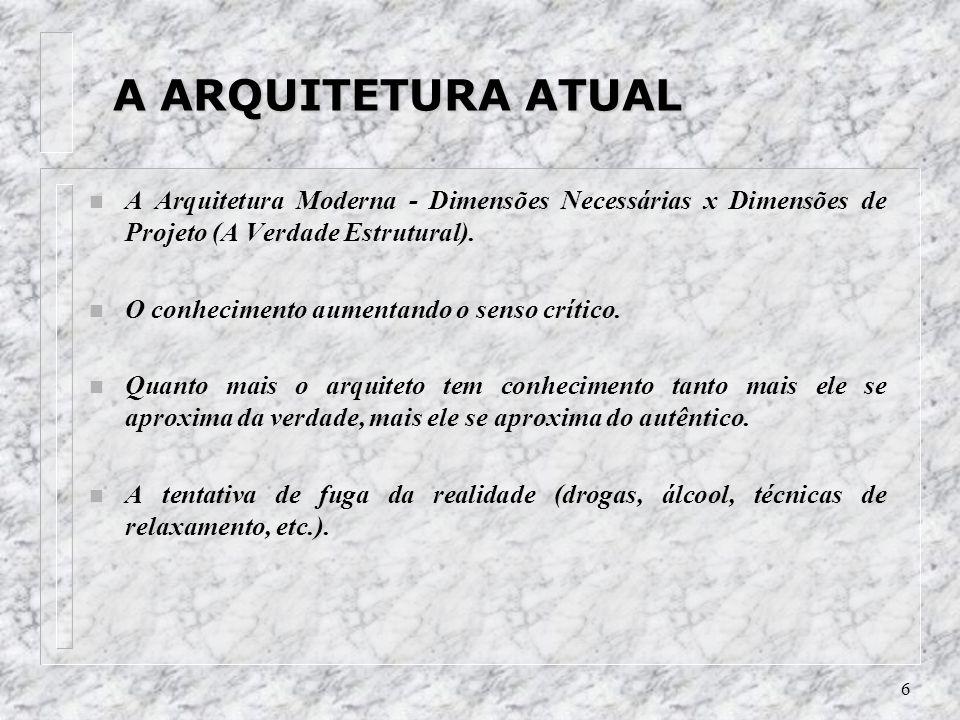 6 A ARQUITETURA ATUAL A ARQUITETURA ATUAL n A Arquitetura Moderna - Dimensões Necessárias x Dimensões de Projeto (A Verdade Estrutural). n O conhecime