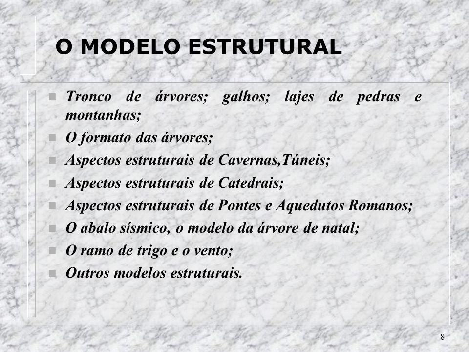 8 O MODELO ESTRUTURAL n Tronco de árvores; galhos; lajes de pedras e montanhas; n O formato das árvores; n Aspectos estruturais de Cavernas,Túneis; n