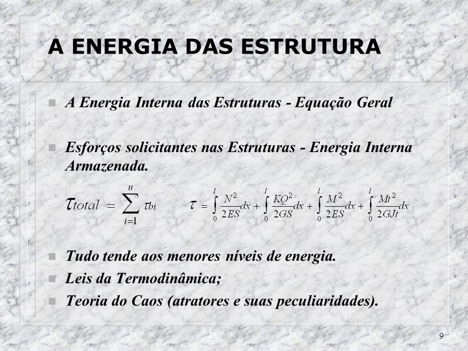 9 A ENERGIA DAS ESTRUTURA n A Energia Interna das Estruturas - Equação Geral n Esforços solicitantes nas Estruturas - Energia Interna Armazenada. n Tu