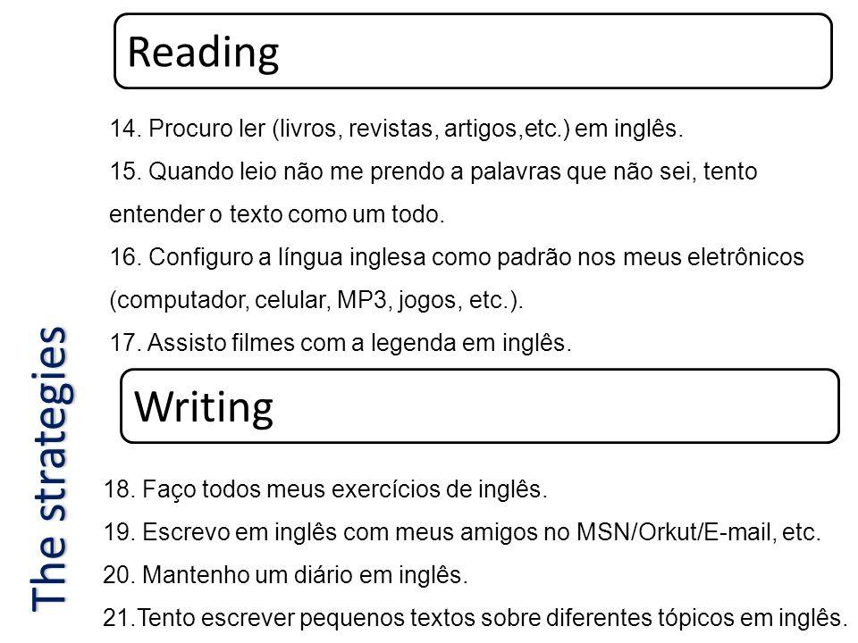 Reading 14. Procuro ler (livros, revistas, artigos,etc.) em inglês. 15. Quando leio não me prendo a palavras que não sei, tento entender o texto como