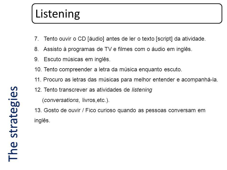Listening 7. Tento ouvir o CD [áudio] antes de ler o texto [script] da atividade. 8. Assisto à programas de TV e filmes com o áudio em inglês. 9. Escu