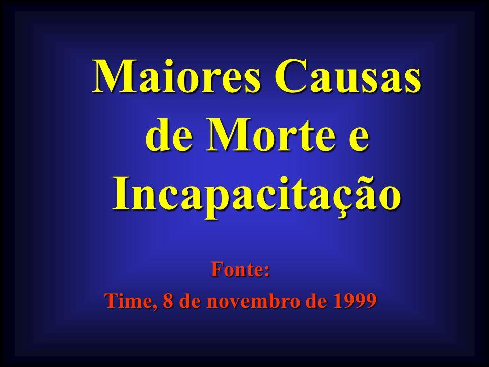 Maiores Causas de Morte e Incapacitação Fonte: Time, 8 de novembro de 1999