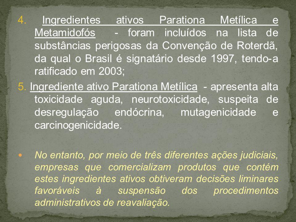 4. Ingredientes ativos Parationa Metílica e Metamidofós - foram incluídos na lista de substâncias perigosas da Convenção de Roterdã, da qual o Brasil
