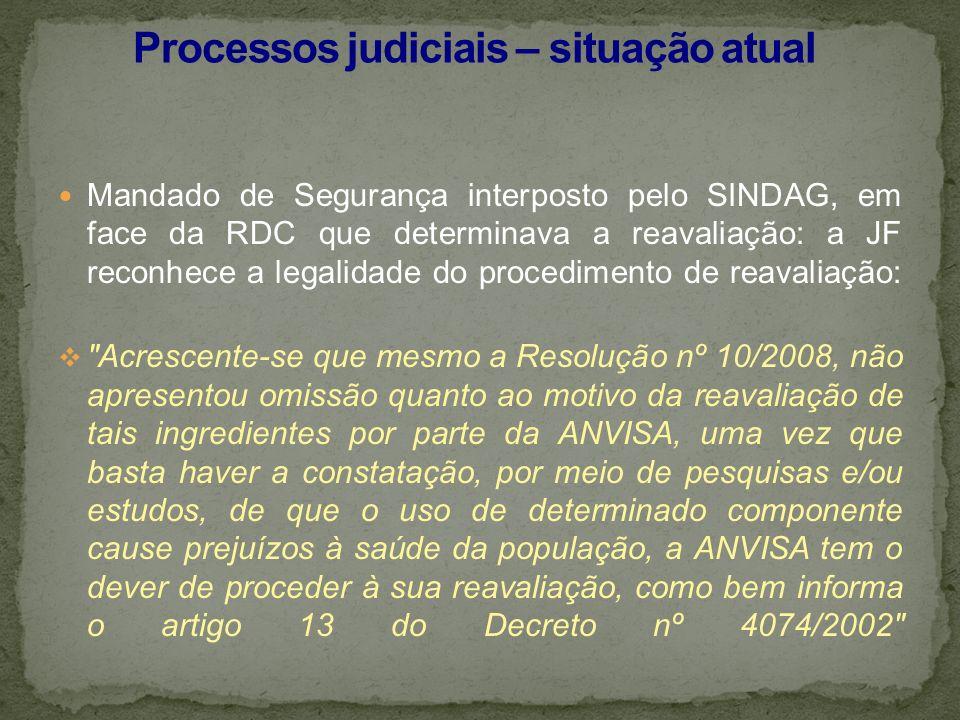 Mandado de Segurança interposto pelo SINDAG, em face da RDC que determinava a reavaliação: a JF reconhece a legalidade do procedimento de reavaliação: