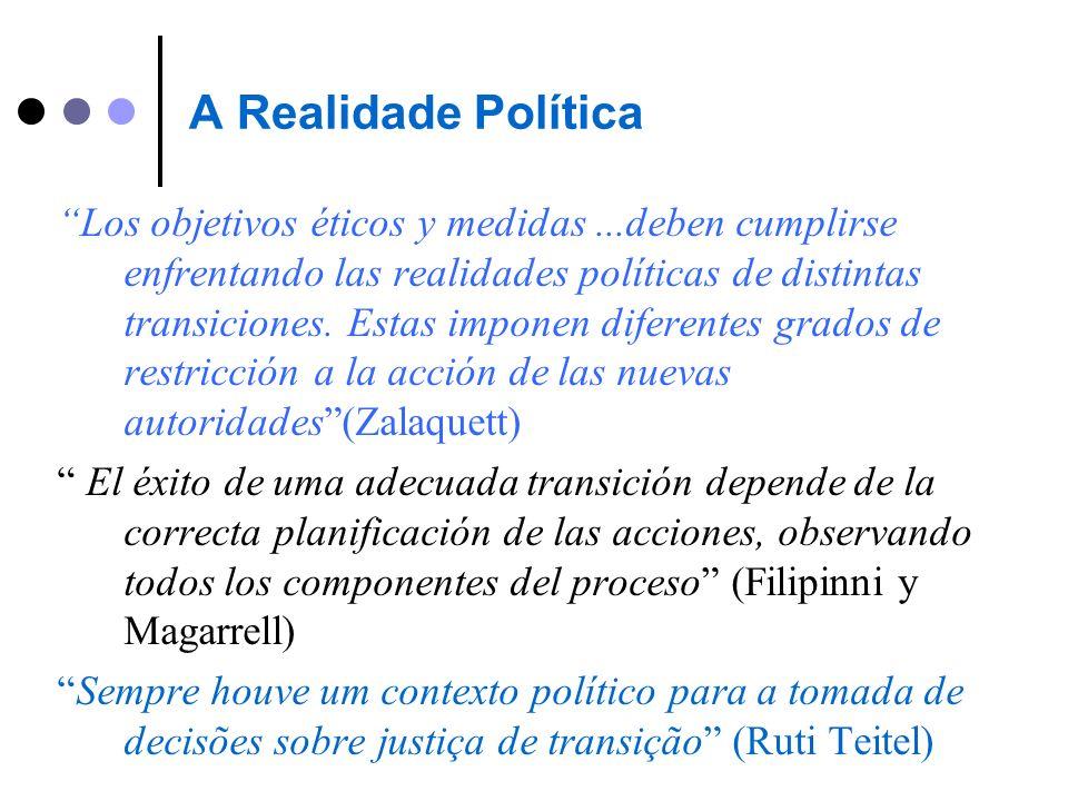 A Realidade Política Los objetivos éticos y medidas...deben cumplirse enfrentando las realidades políticas de distintas transiciones. Estas imponen di