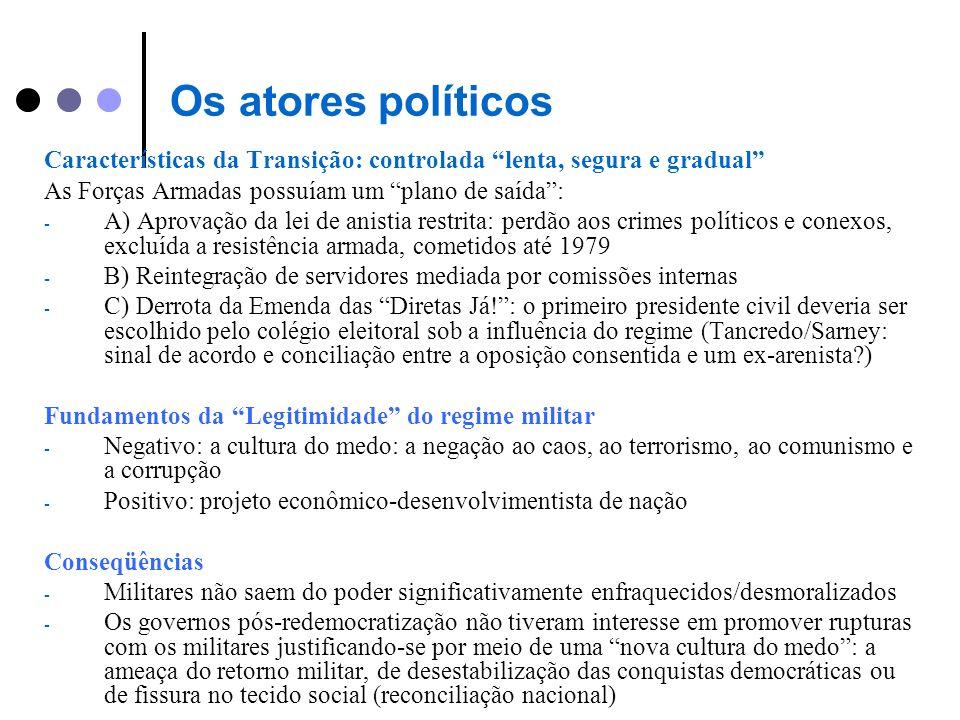 Os atores políticos Características da Transição: controlada lenta, segura e gradual As Forças Armadas possuíam um plano de saída: - A) Aprovação da l