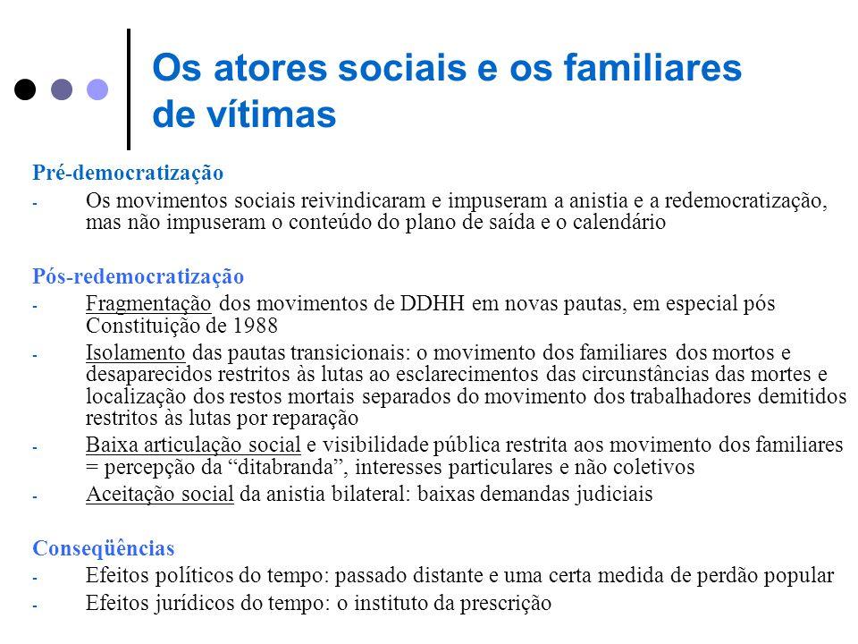 Os atores sociais e os familiares de vítimas Pré-democratização - Os movimentos sociais reivindicaram e impuseram a anistia e a redemocratização, mas