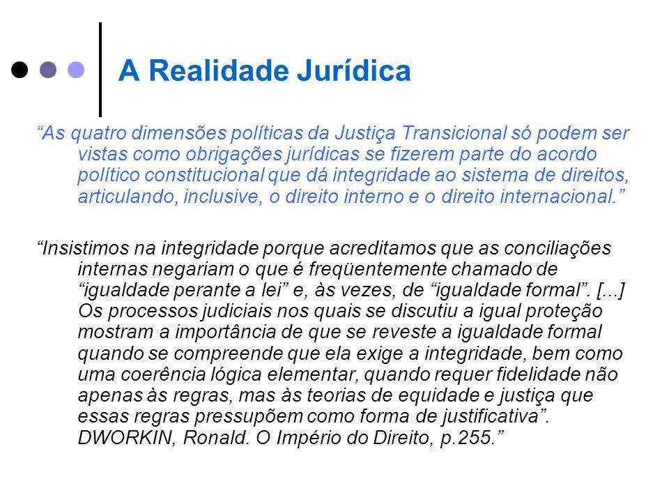 A Realidade Jurídica As quatro dimensões políticas da Justiça Transicional só podem ser vistas como obrigações jurídicas se fizerem parte do acordo po