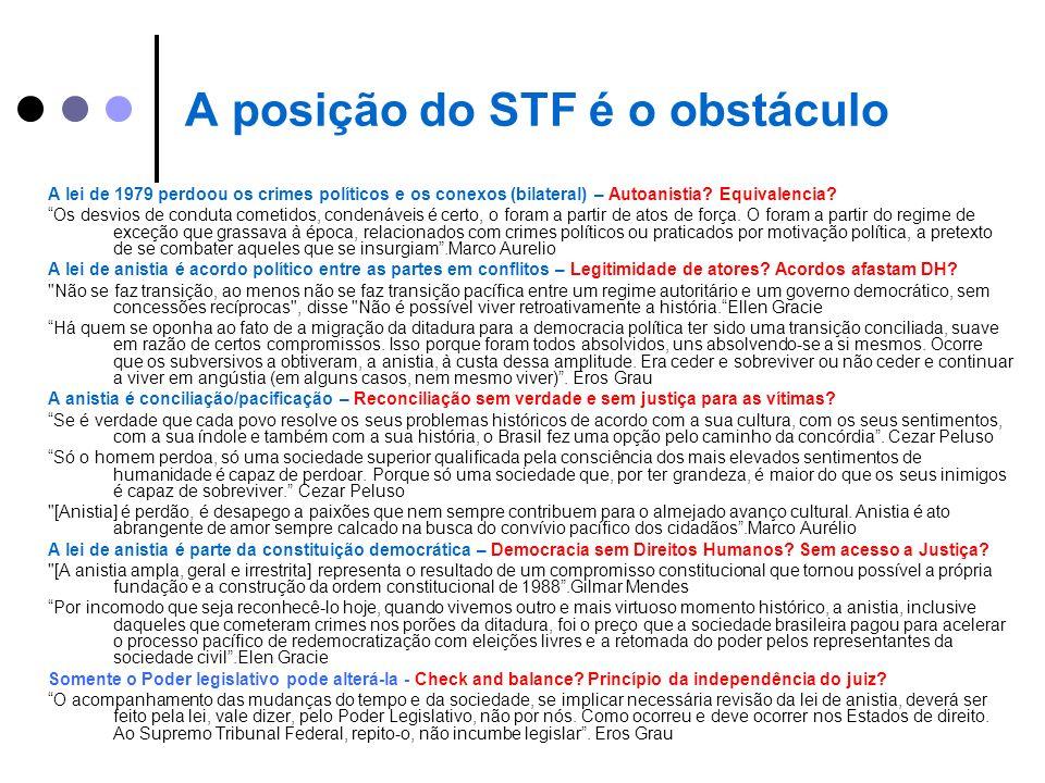 A posição do STF é o obstáculo A lei de 1979 perdoou os crimes políticos e os conexos (bilateral) – Autoanistia? Equivalencia? Os desvios de conduta c