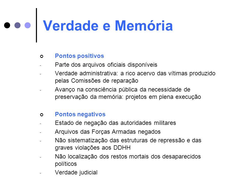 Verdade e Memória Pontos positivos - Parte dos arquivos oficiais disponíveis - Verdade administrativa: a rico acervo das vítimas produzido pelas Comis