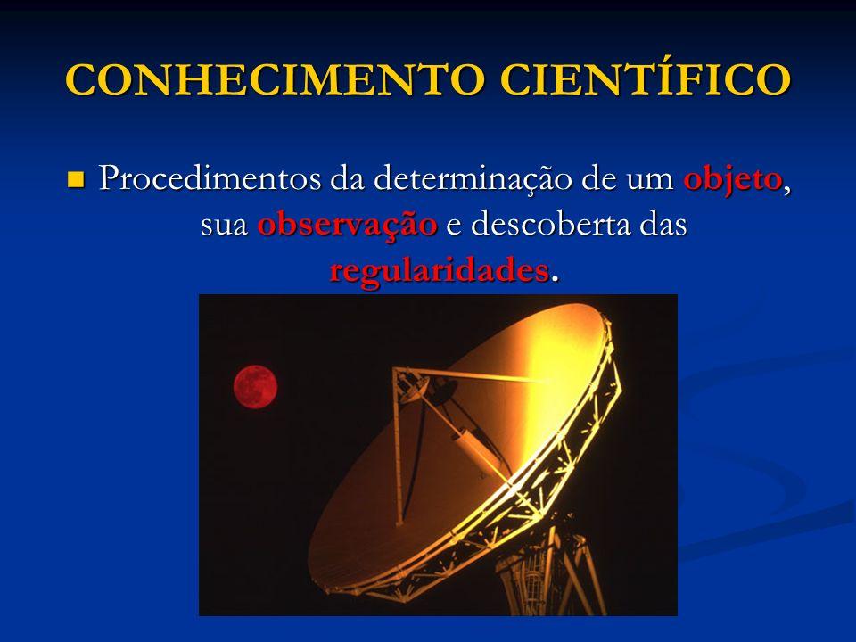 CONHECIMENTO CIENTÍFICO Procedimentos da determinação de um objeto, sua observação e descoberta das regularidades. Procedimentos da determinação de um