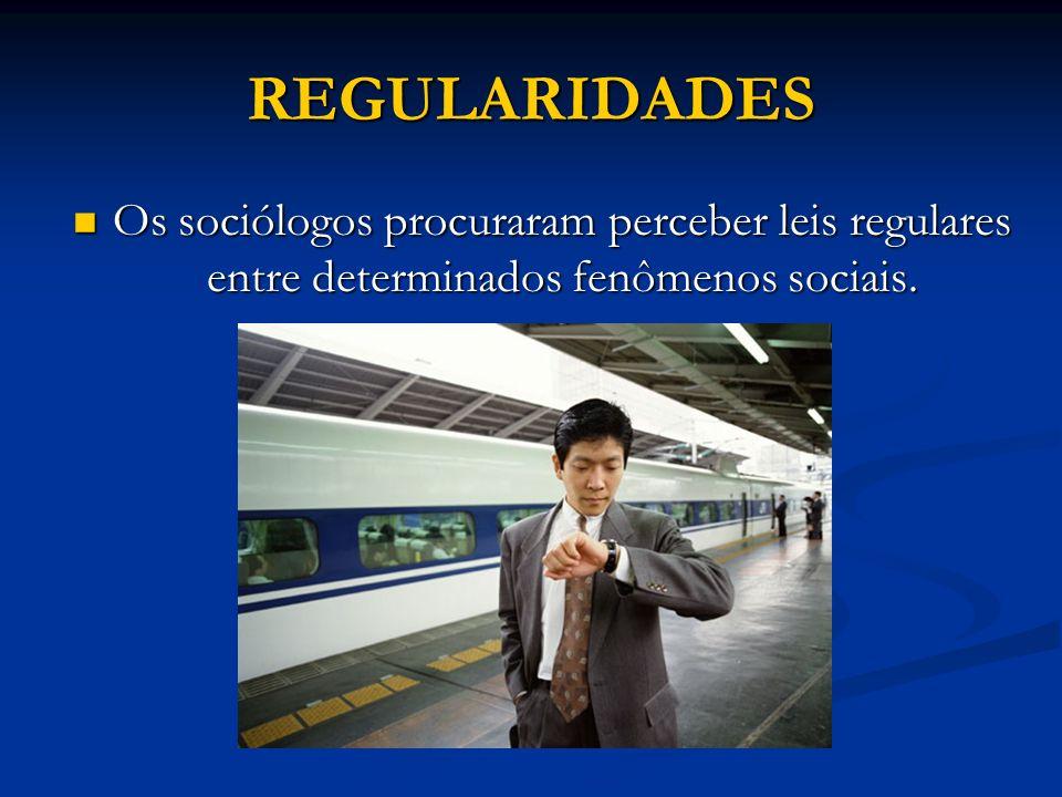 REGULARIDADES Os sociólogos procuraram perceber leis regulares entre determinados fenômenos sociais. Os sociólogos procuraram perceber leis regulares