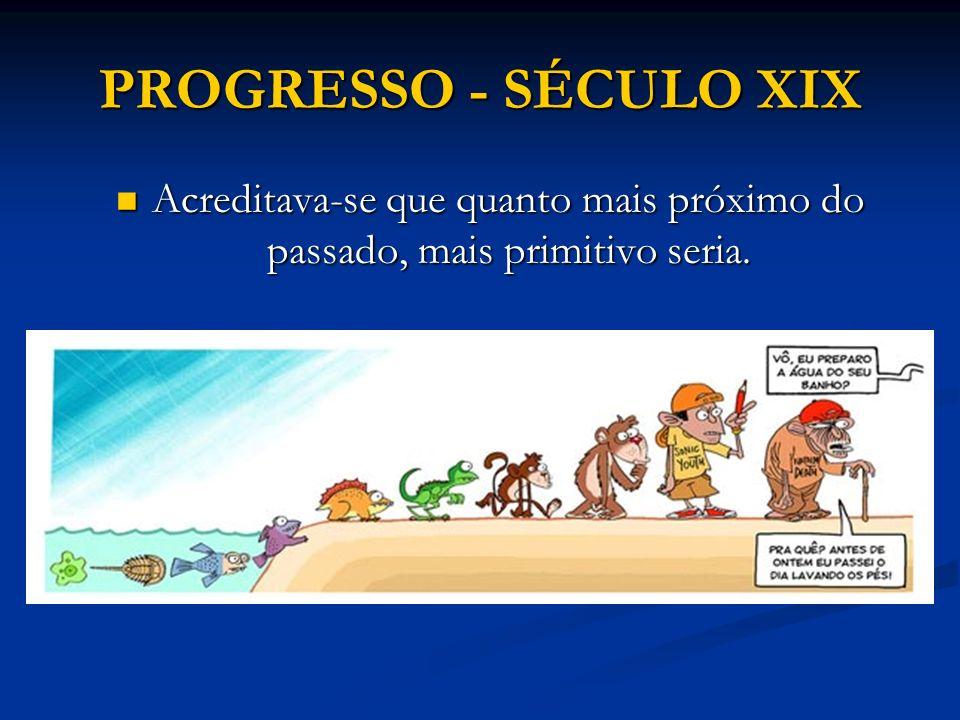 PROGRESSO - SÉCULO XIX Acreditava-se que quanto mais próximo do passado, mais primitivo seria. Acreditava-se que quanto mais próximo do passado, mais