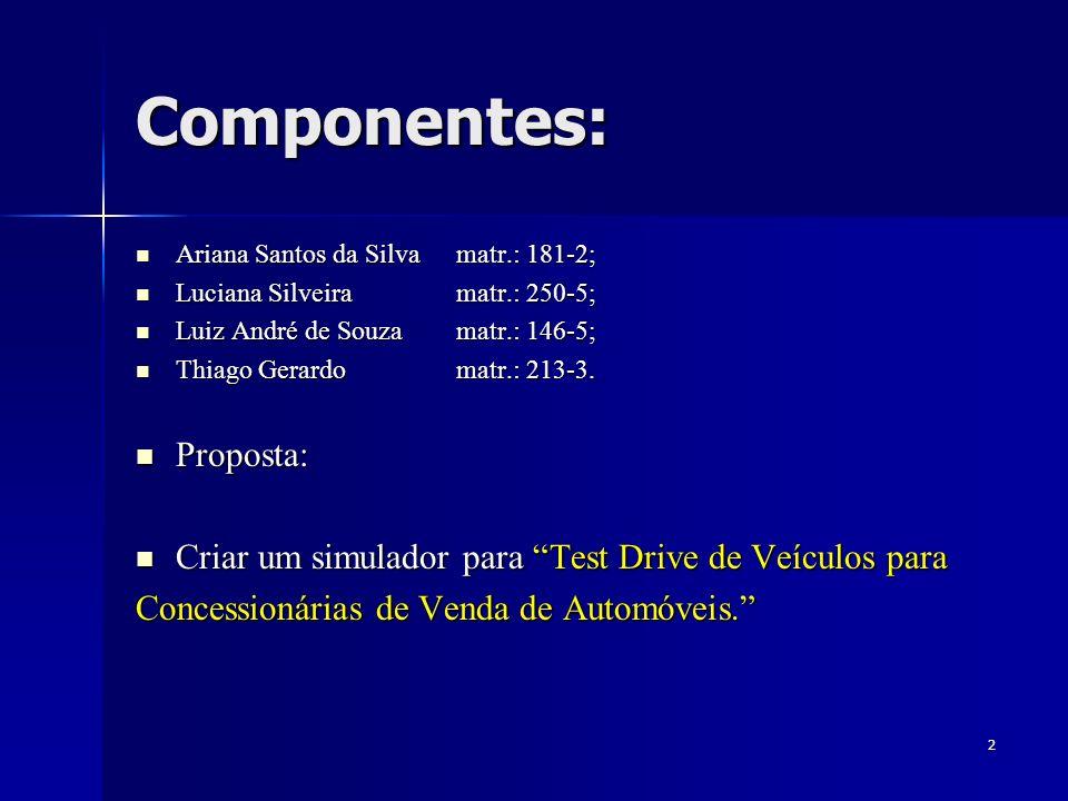 2 Componentes: Ariana Santos da Silvamatr.: 181-2; Ariana Santos da Silvamatr.: 181-2; Luciana Silveiramatr.: 250-5; Luciana Silveiramatr.: 250-5; Luiz André de Souzamatr.: 146-5; Luiz André de Souzamatr.: 146-5; Thiago Gerardomatr.: 213-3.