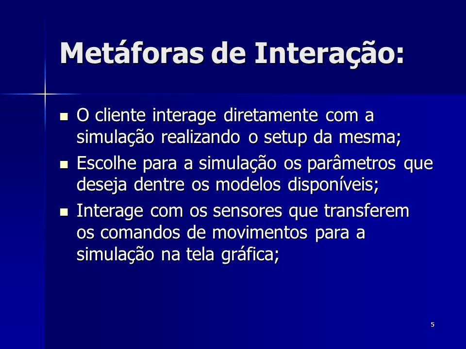 5 Metáforas de Interação: O cliente interage diretamente com a simulação realizando o setup da mesma; O cliente interage diretamente com a simulação realizando o setup da mesma; Escolhe para a simulação os parâmetros que deseja dentre os modelos disponíveis; Escolhe para a simulação os parâmetros que deseja dentre os modelos disponíveis; Interage com os sensores que transferem os comandos de movimentos para a simulação na tela gráfica; Interage com os sensores que transferem os comandos de movimentos para a simulação na tela gráfica;