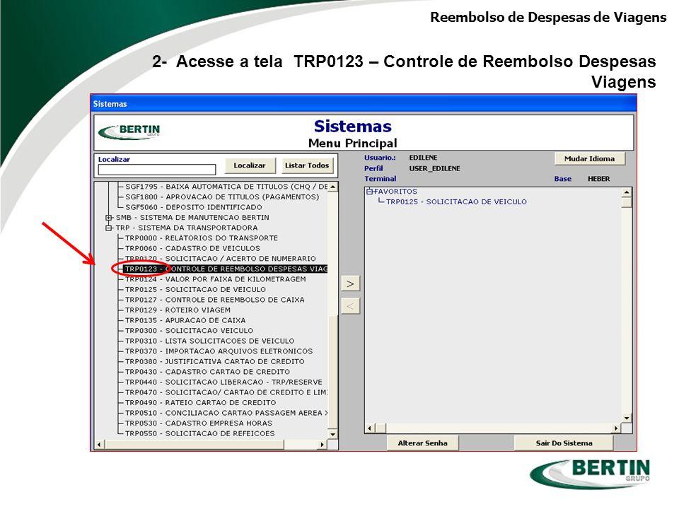 Reembolso de Despesas de Viagens 3- Digite o seu código de pessoa e o sistema trará automaticamente os dados cadastrais (Caso não se lembre do código, consultar na tela SGE2000.