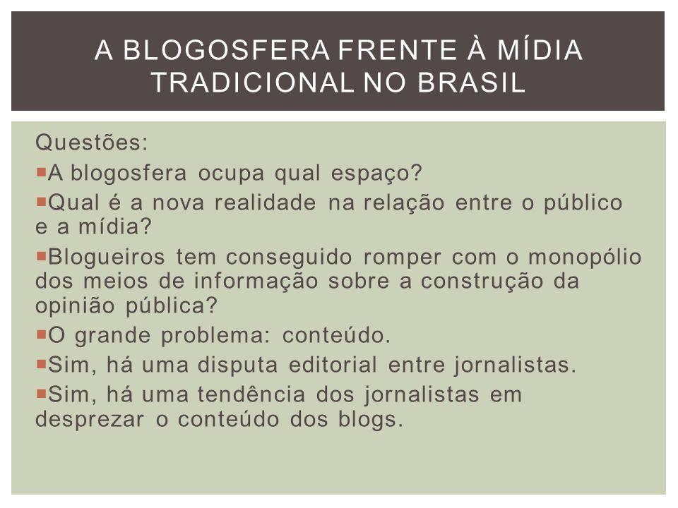 Questões: A blogosfera ocupa qual espaço? Qual é a nova realidade na relação entre o público e a mídia? Blogueiros tem conseguido romper com o monopól