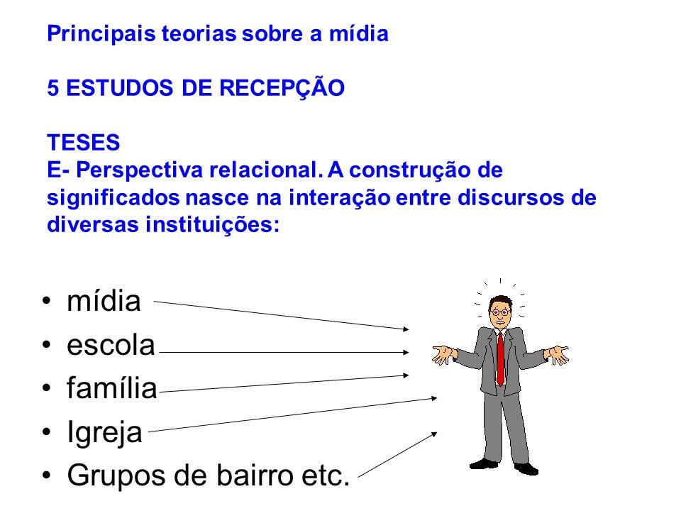 Principais teorias sobre a mídia 5 ESTUDOS DE RECEPÇÃO TESES E- Perspectiva relacional. A construção de significados nasce na interação entre discurso