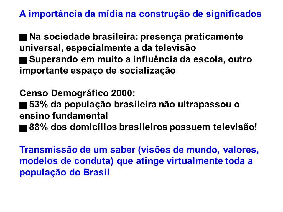 A importância da mídia na construção de significados Na sociedade brasileira: presença praticamente universal, especialmente a da televisão Superando