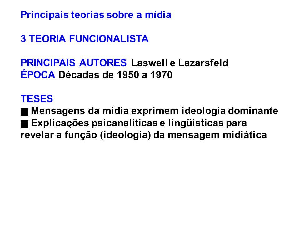 Principais teorias sobre a mídia 3 TEORIA FUNCIONALISTA PRINCIPAIS AUTORES Laswell e Lazarsfeld ÉPOCA Décadas de 1950 a 1970 TESES Mensagens da mídia