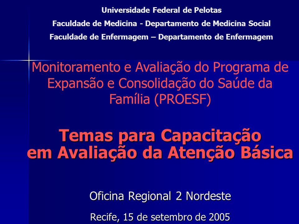 Temas para Capacitação em Avaliação da Atenção Básica Oficina Regional 2 Nordeste Recife, 15 de setembro de 2005 Universidade Federal de Pelotas Facul