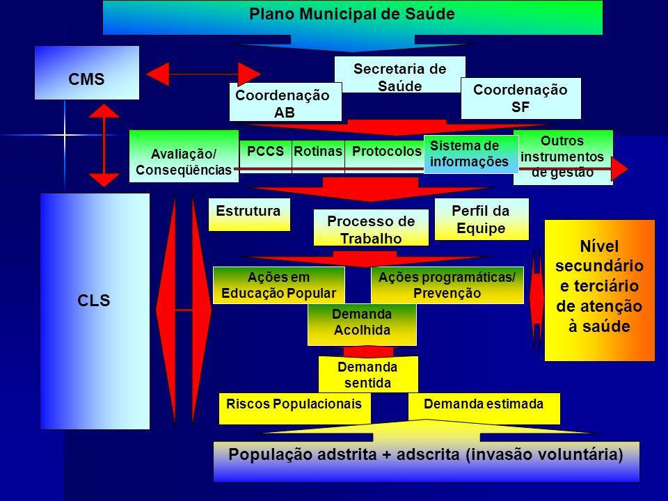 CMS Secretaria de Saúde Coordenação AB Coordenação SF Avaliação/ Conseqüências RotinasProtocolosPCCS EstruturaPerfil da Equipe Processo de Trabalho De