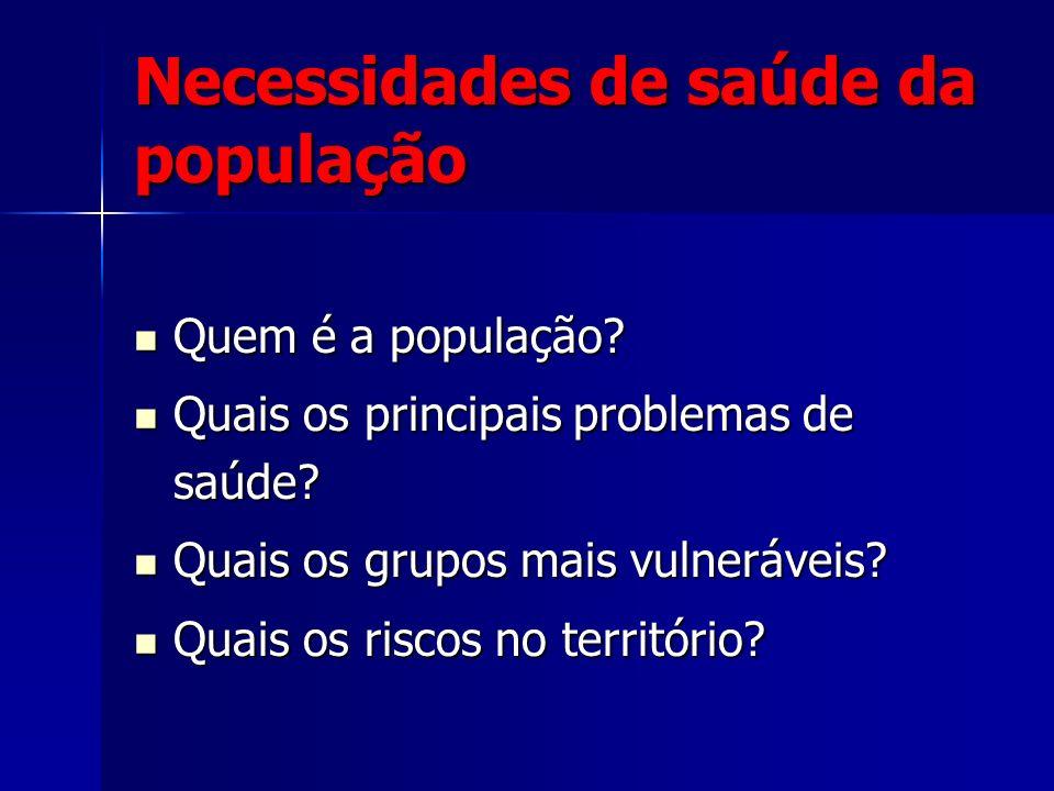 Necessidades de saúde da população Quem é a população? Quem é a população? Quais os principais problemas de saúde? Quais os principais problemas de sa