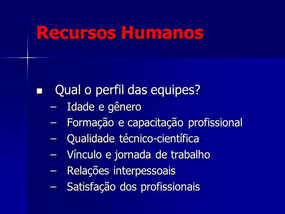 Recursos Humanos Qual o perfil das equipes? Qual o perfil das equipes? –Idade e gênero –Formação e capacitação profissional –Qualidade técnico-científ