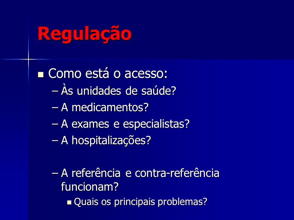 Regulação Como está o acesso: Como está o acesso: –Às unidades de saúde? –A medicamentos? –A exames e especialistas? –A hospitalizações? –A referência