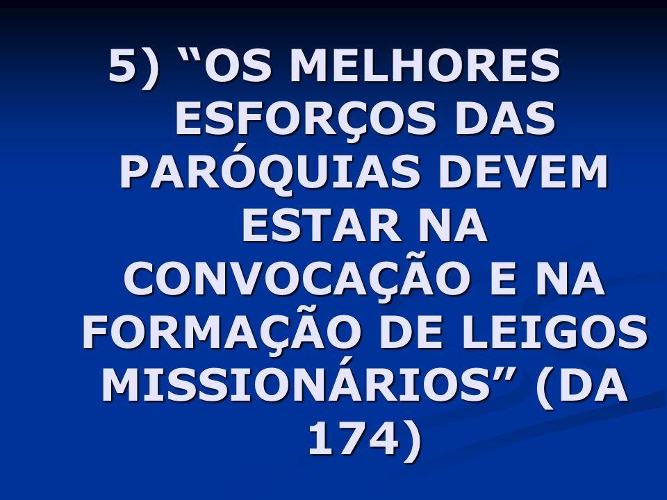 5) OS MELHORES ESFORÇOS DAS PARÓQUIAS DEVEM ESTAR NA CONVOCAÇÃO E NA FORMAÇÃO DE LEIGOS MISSIONÁRIOS (DA 174)