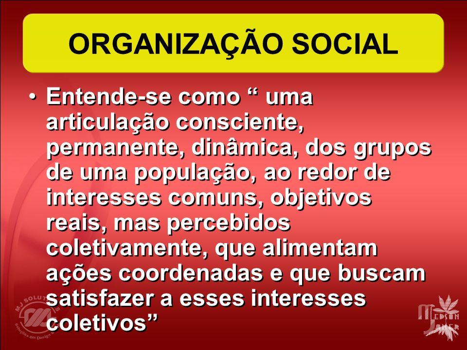ORGANIZAÇÃO SOCIAL Entende-se como uma articulação consciente, permanente, dinâmica, dos grupos de uma população, ao redor de interesses comuns, objet