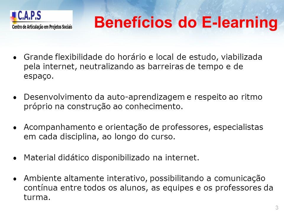 Benefícios do E-learning Grande flexibilidade do horário e local de estudo, viabilizada pela internet, neutralizando as barreiras de tempo e de espaço.