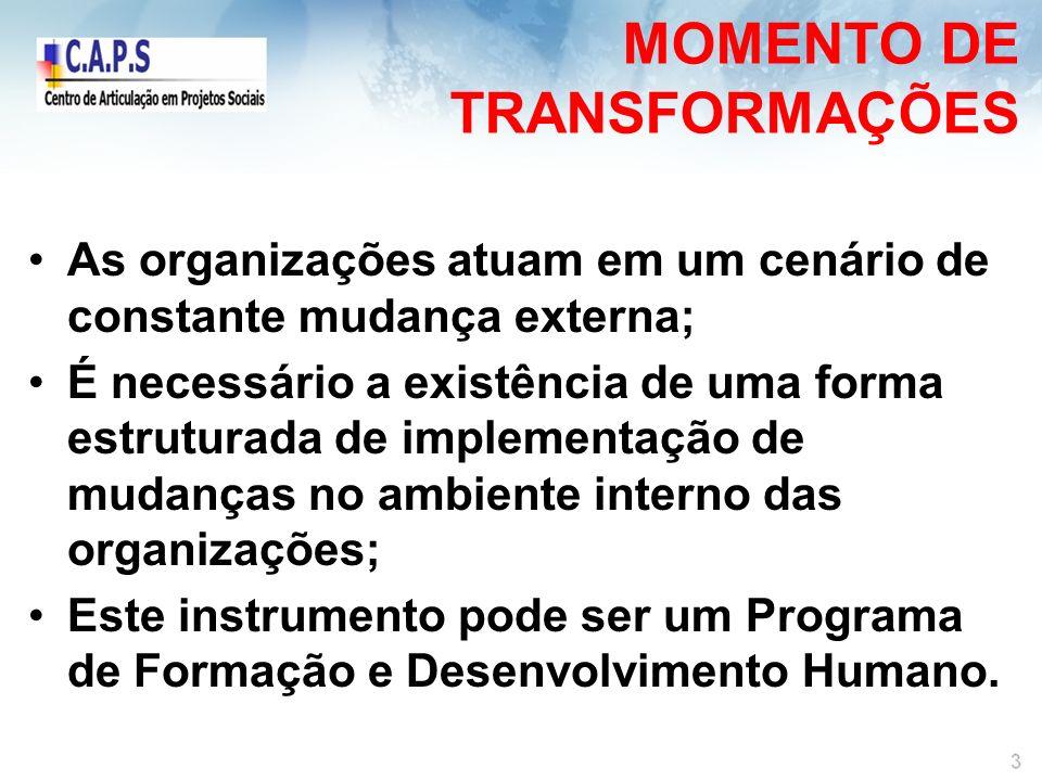 MOMENTO DE TRANSFORMAÇÕES As organizações atuam em um cenário de constante mudança externa; É necessário a existência de uma forma estruturada de implementação de mudanças no ambiente interno das organizações; Este instrumento pode ser um Programa de Formação e Desenvolvimento Humano.