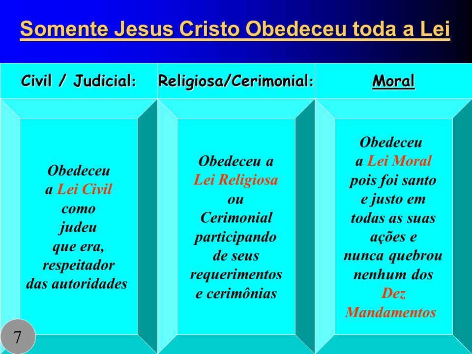 Somente Jesus Cristo Obedeceu toda a Lei Obedeceu a Lei Civil como judeu que era, respeitador das autoridades Civil / Judicial : Obedeceu a Lei Religi