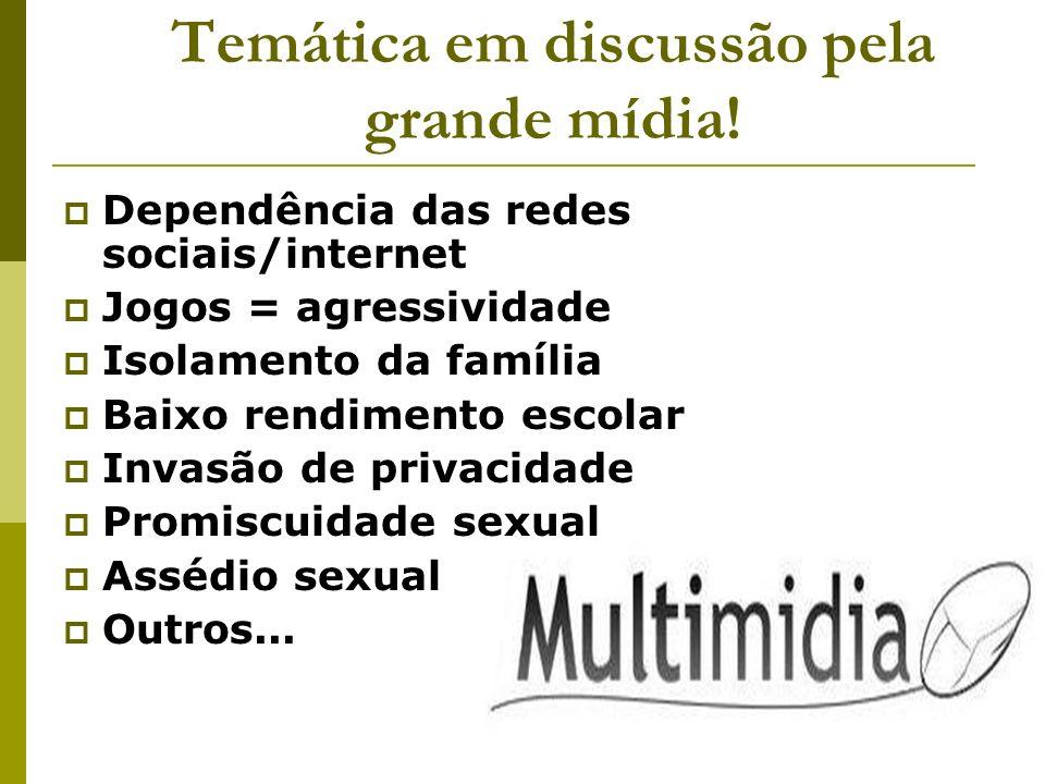 Temática em discussão pela grande mídia! Dependência das redes sociais/internet Jogos = agressividade Isolamento da família Baixo rendimento escolar I