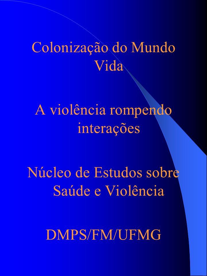 Colonização do Mundo Vida A violência rompendo interações Núcleo de Estudos sobre Saúde e Violência DMPS/FM/UFMG