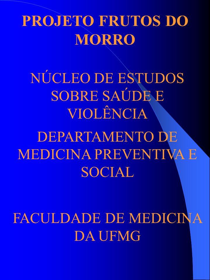 PROJETO FRUTOS DO MORRO NÚCLEO DE ESTUDOS SOBRE SAÚDE E VIOLÊNCIA DEPARTAMENTO DE MEDICINA PREVENTIVA E SOCIAL FACULDADE DE MEDICINA DA UFMG