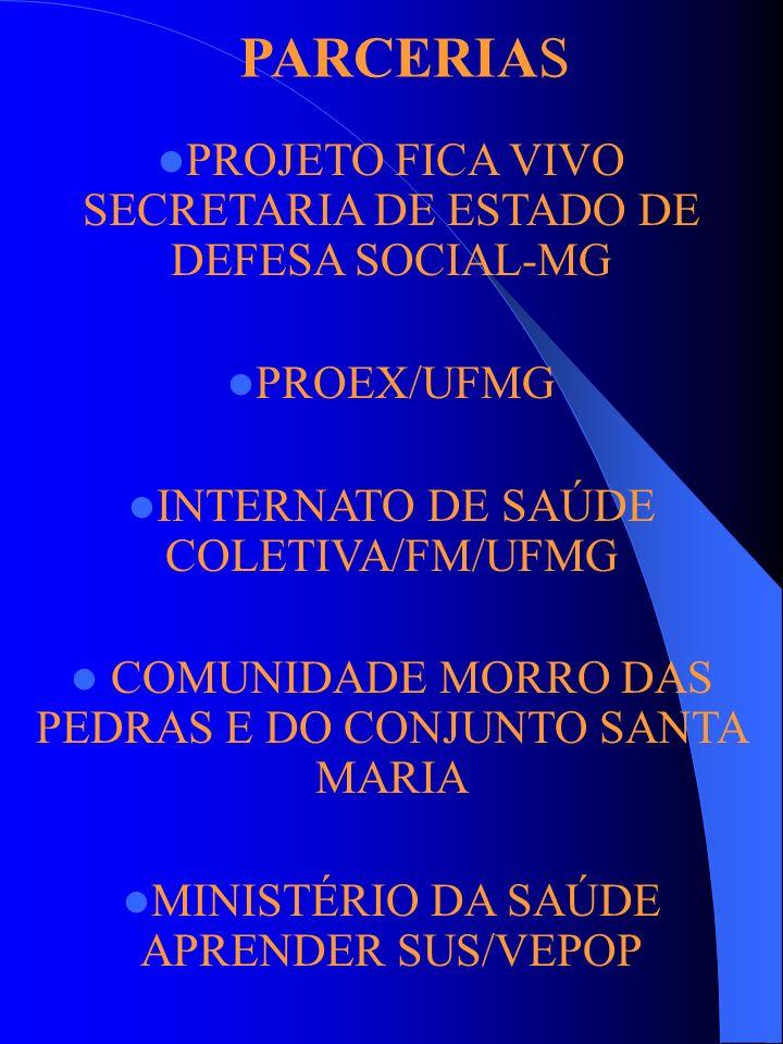 PROJETO FICA VIVO SECRETARIA DE ESTADO DE DEFESA SOCIAL-MG PROEX/UFMG INTERNATO DE SAÚDE COLETIVA/FM/UFMG COMUNIDADE MORRO DAS PEDRAS E DO CONJUNTO SA