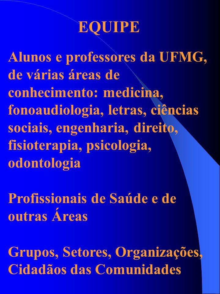Alunos e professores da UFMG, de várias áreas de conhecimento: medicina, fonoaudiologia, letras, ciências sociais, engenharia, direito, fisioterapia,