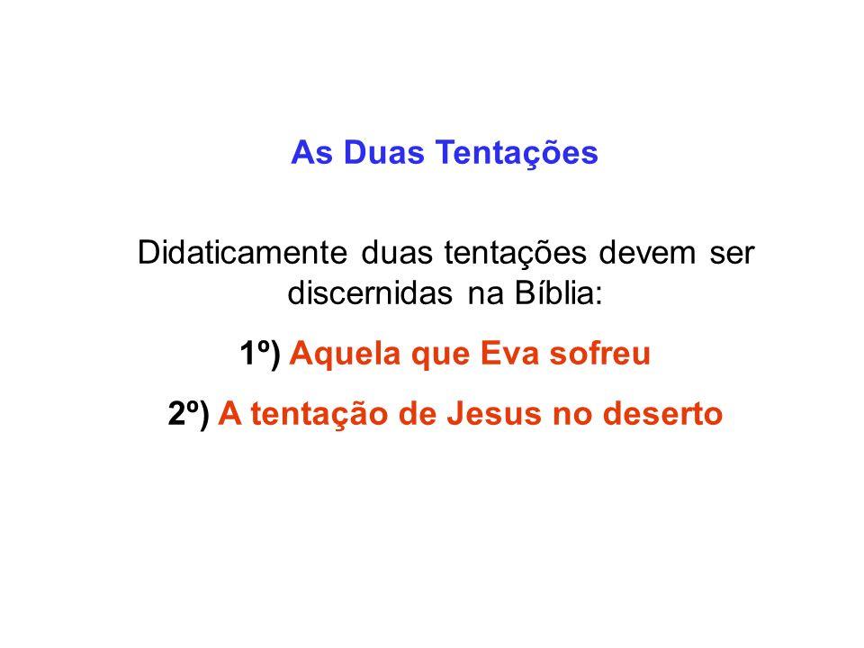 As Duas Tentações Didaticamente duas tentações devem ser discernidas na Bíblia: 1º) Aquela que Eva sofreu 2º) A tentação de Jesus no deserto
