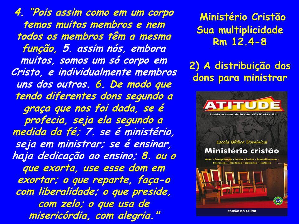 Ministério Cristão Sua multiplicidade 1Co 12.1-3 3) Sua identidade espiritual 1.Ora, a respeito dos dons espirituais, não quero, irmãos, que sejais ignorantes.