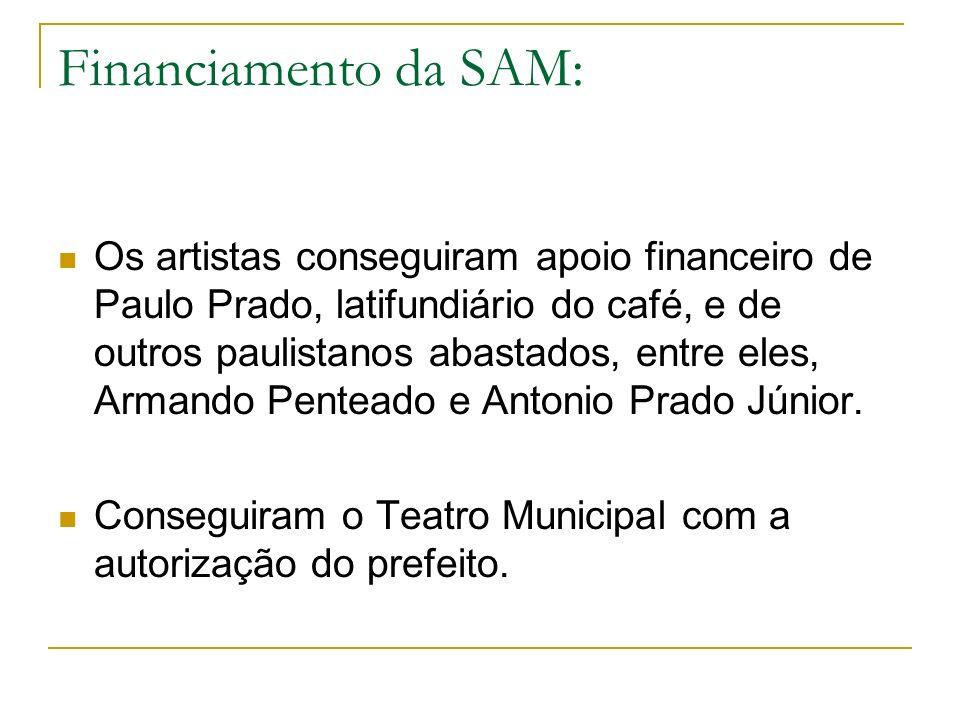 Financiamento da SAM: Os artistas conseguiram apoio financeiro de Paulo Prado, latifundiário do café, e de outros paulistanos abastados, entre eles, A