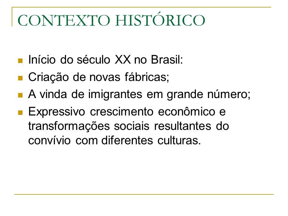 CONTEXTO HISTÓRICO Início do século XX no Brasil: Criação de novas fábricas; A vinda de imigrantes em grande número; Expressivo crescimento econômico