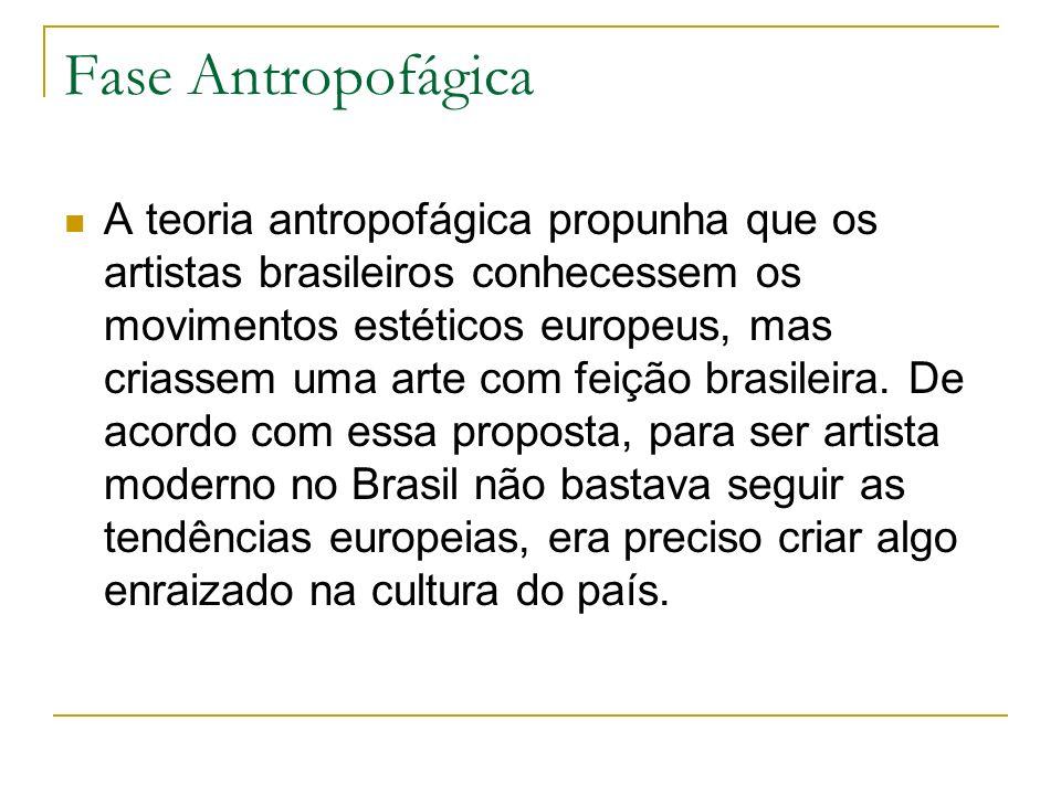 Fase Antropofágica A teoria antropofágica propunha que os artistas brasileiros conhecessem os movimentos estéticos europeus, mas criassem uma arte com