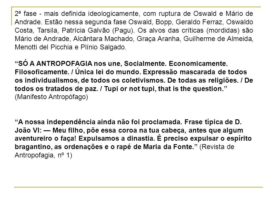 2ª fase - mais definida ideologicamente, com ruptura de Oswald e Mário de Andrade. Estão nessa segunda fase Oswald, Bopp, Geraldo Ferraz, Oswaldo Cost