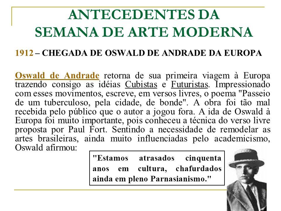 ANTECEDENTES DA SEMANA DE ARTE MODERNA 1912 – CHEGADA DE OSWALD DE ANDRADE DA EUROPA Oswald de AndradeOswald de Andrade retorna de sua primeira viagem