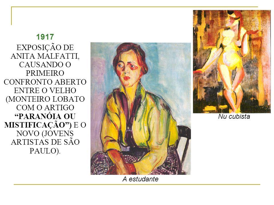 1917 EXPOSIÇÃO DE ANITA MALFATTI, CAUSANDO O PRIMEIRO CONFRONTO ABERTO ENTRE O VELHO (MONTEIRO LOBATO COM O ARTIGO PARANÓIA OU MISTIFICAÇÃO) E O NOVO