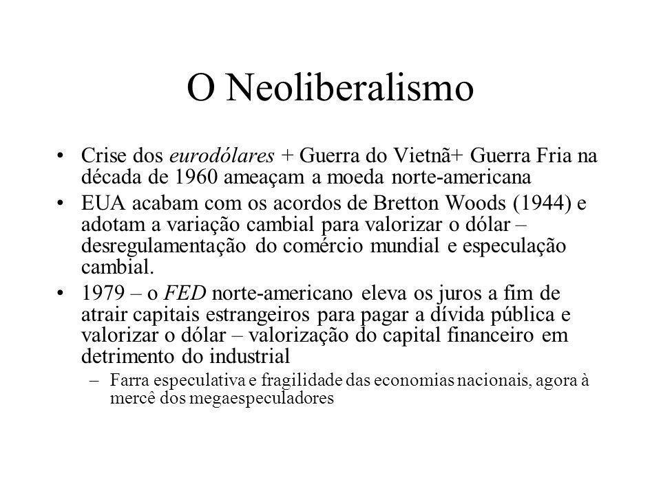 O Neoliberalismo Crise dos eurodólares + Guerra do Vietnã+ Guerra Fria na década de 1960 ameaçam a moeda norte-americana EUA acabam com os acordos de