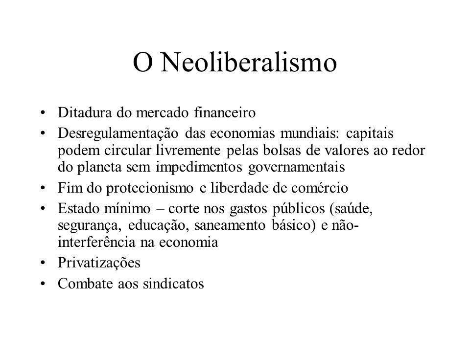 O Neoliberalismo Ditadura do mercado financeiro Desregulamentação das economias mundiais: capitais podem circular livremente pelas bolsas de valores a