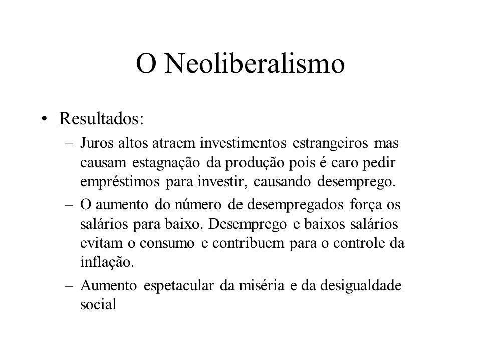 O Neoliberalismo Resultados: –Juros altos atraem investimentos estrangeiros mas causam estagnação da produção pois é caro pedir empréstimos para inves